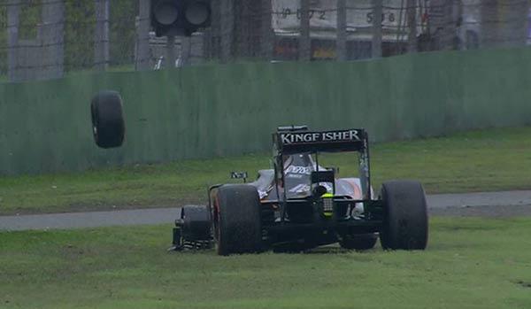 Hulkenberg, sin rueda en la Q2.
