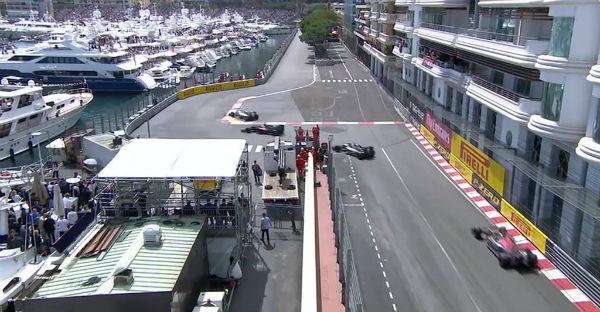 Rosberg se salta la chicane de Mónaco al intentar adelantar a Alonso. Tuvo que devolverle la posición.