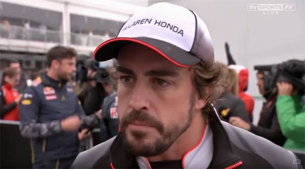 Alonso, atendiendo a Sky Sports tras la carrera.
