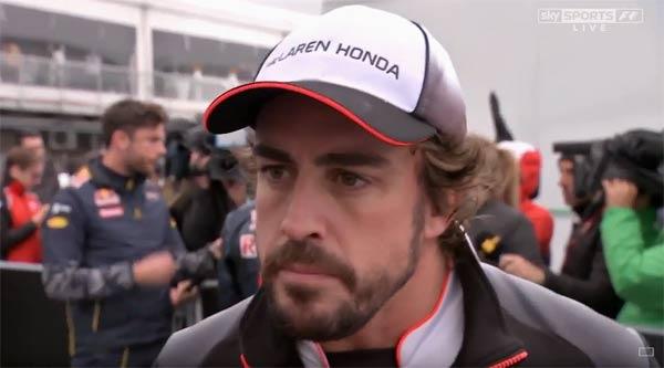 Alonso, atendiendo a Sky Sports tras la carrera.