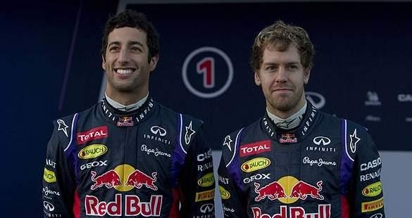 Ricciardo y Vettel, compañeros en Red Bull en 2014 (Foto: Archivo).