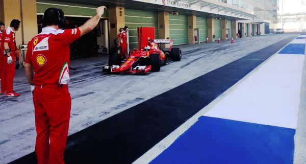 Sebastian Vettel, haciendo test para Pirelli en Abu Dhabi (Foto: Ferrari).