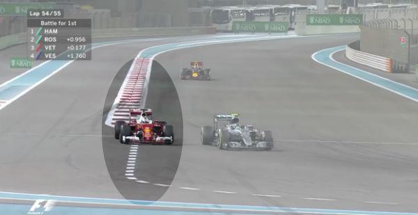 Vettel, pegadísimo a Rosberg en las últimas vueltas de Abu Dhabi.