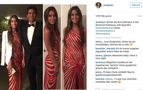 Ana Boyer y Fernando Verdasco, en la cena. ¿Qué les parece el vestido?