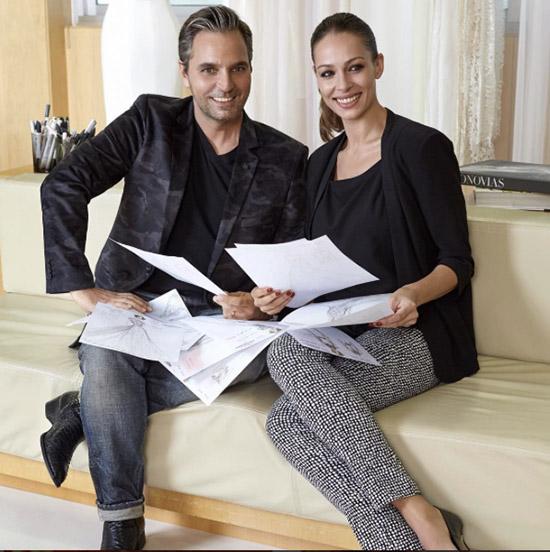Eva González con Hervé Moreau, de Pronovias. Foto: IG @evagonzalezoficial