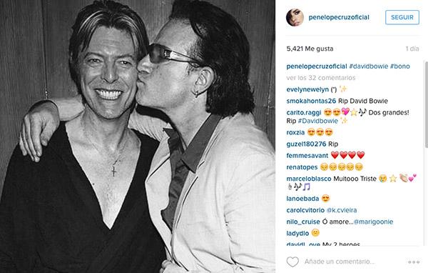 Penélope Cruz fue una de las muchas celebridades que homenajeó al cantante en su Instagram.