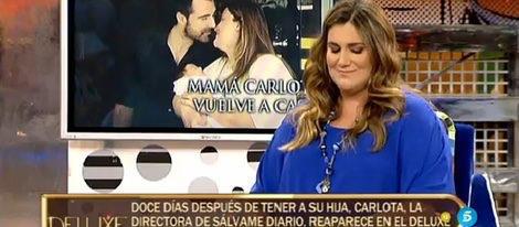 Carlota abordó la maternidad frente a las cámaras doce días depués del nacimiento de su hija