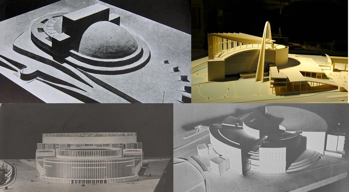 Cuatro de los proyectos desechados por Stalin. Arriba: Erich Mendelsohn (izquierda) y Le Corbusier. Abajo: Hans Poelzig (izquierda) y Walter Gropius (Fotos: dominio público)
