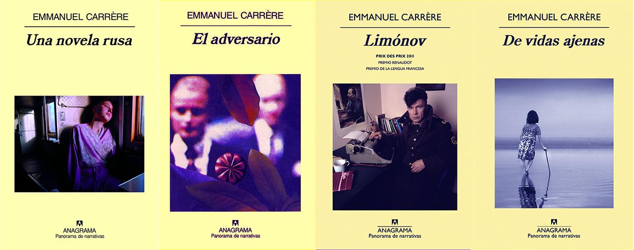 Cubiertas de cuatro libros de Emmanuel Carrère