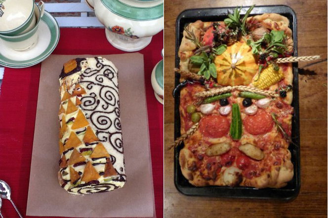 Pastel de Anne Irvine inspirado en una obra de Gustav Klimt y pizza de Linda Lutz inspirada en un cuadro de Arcimboldo