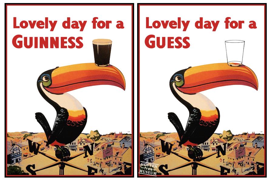 Publicidad de la cerveza Guinness y su versión libre de gluten (Arthur Coulet - Gluten Free Museum)