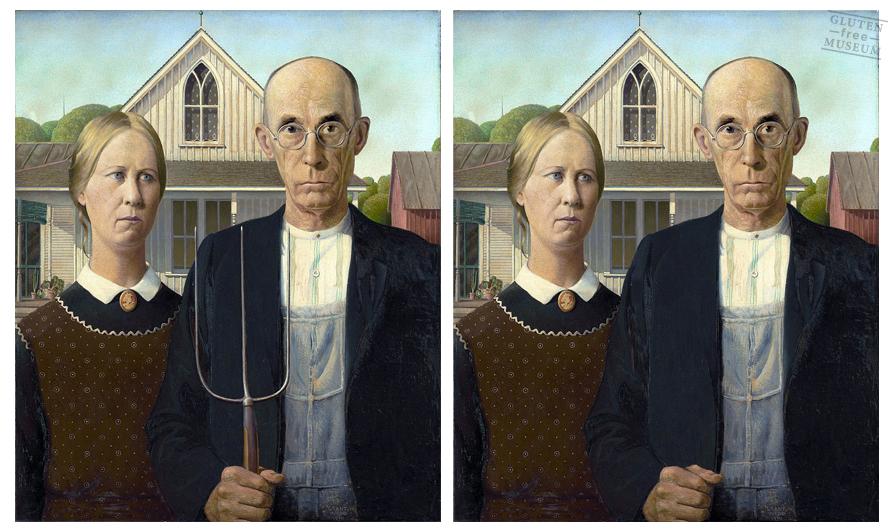 'American Gothic', de Grant Wood y su versión libre de gluten (Arthur Coulet - Gluten Free Museum)