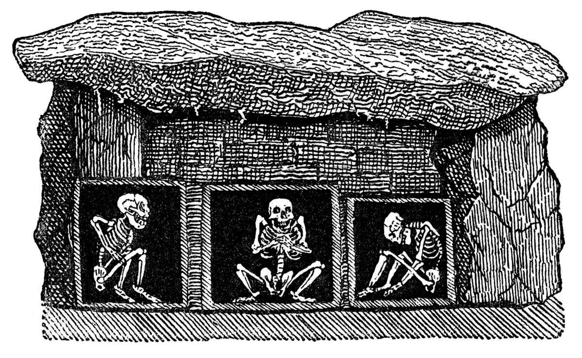 Esqueletos en una tumba sueca de la edad de piedra. Grabado del siglo XIX y de autor desconocido