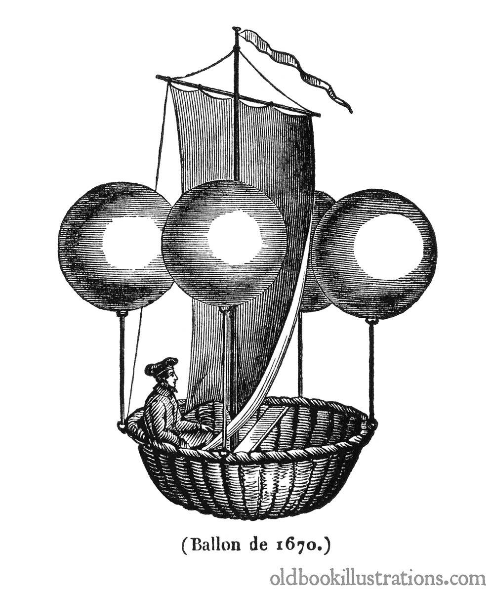 Proyecto para globo aerostático ideado en 1670 por el jesuita italiano Francesco Lana de Terzi 1631-1687- El grabado de autor desconocido se publicó en la revista francesa 'Le Magasin Pittoresque' en 1837