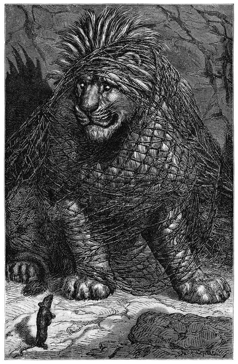 Grabado de Ernest Griset para la fábula de Esopo 'El león y el ratón'