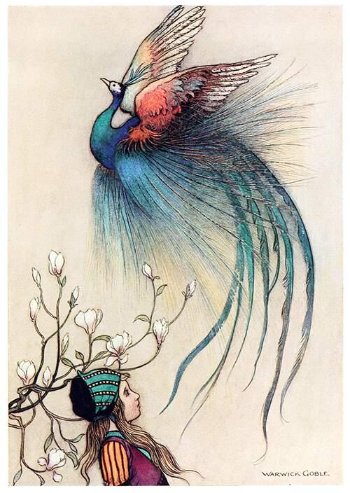 Ilustración de Warwick Goble para un cuento de hadas publicado en 1913