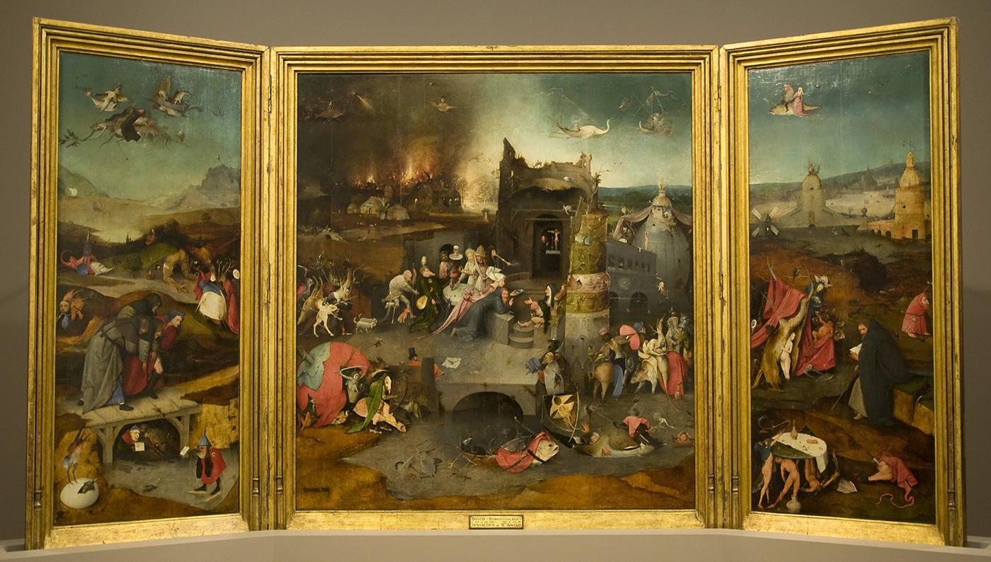 El tríptico abierto de 'Las tentaciones de San Antonio' (El Bosco, c. 1501) - Museu Nacional de Arte Antiga, Lisboa
