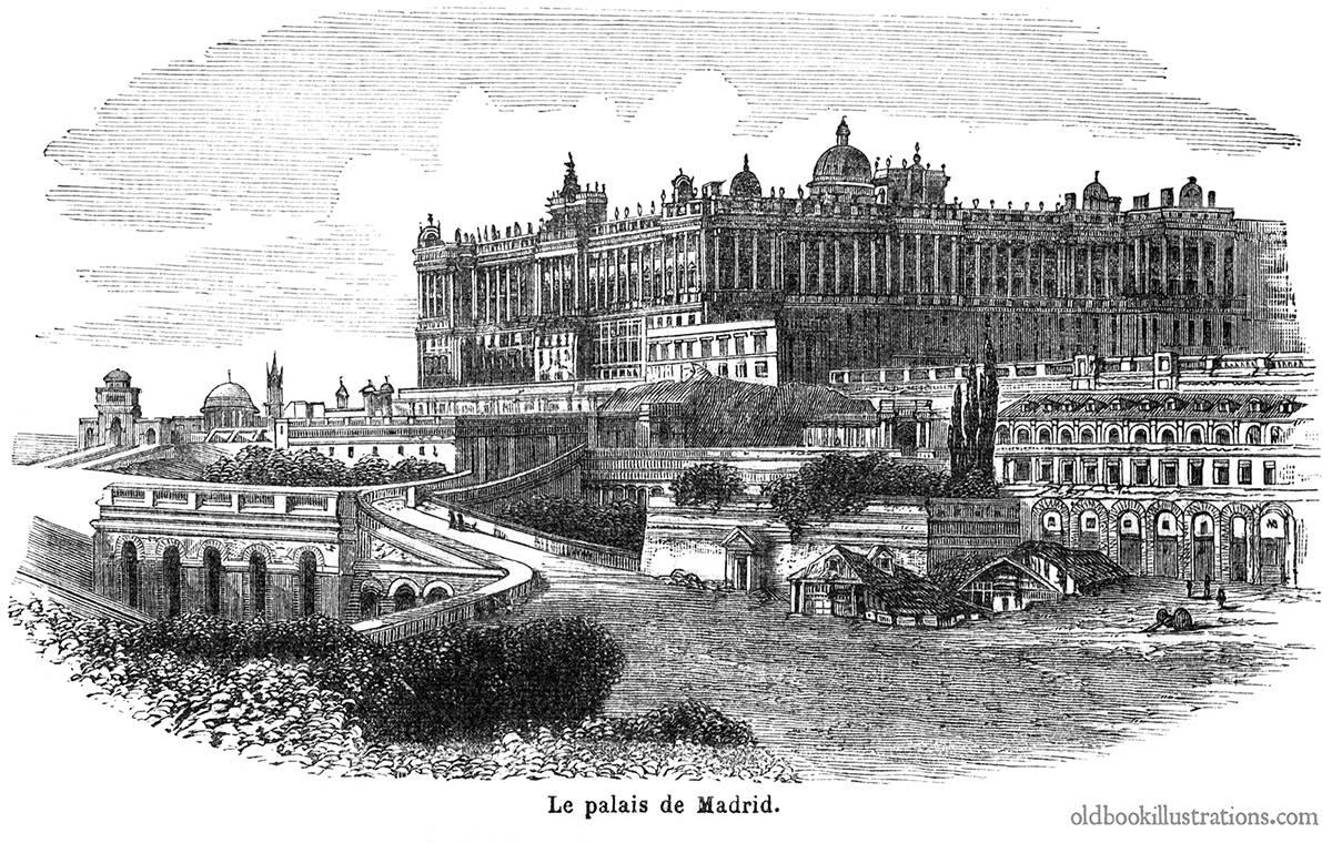 El Palacio Real de Madrid en un grabado de finales del siglo XIX publicado en un diccionario enciclopédico francés
