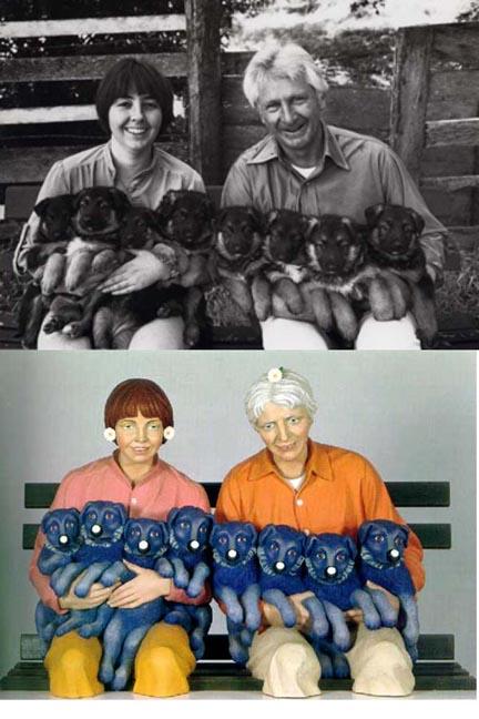 Arriba: foto de Art Rogers. Abajo: String of Puppies - Photo © Jeff Koons