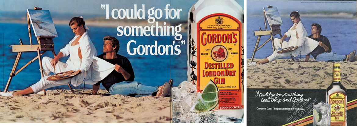 Izquierda: I Could Go For Something Gordon's. Photograph: © Jeff Koons / Derecha: original del anuncio con foto de Mitchel Gray (Imagen: eBay)