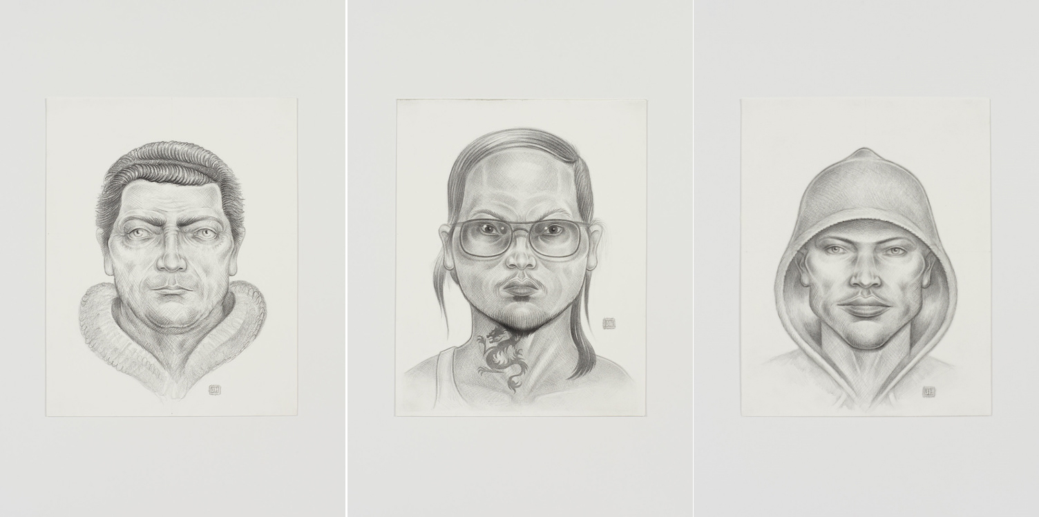 'Sketch 9', 'Sketch 17' y 'Sketch 1', tres de los retratos policiales artísticos de Jason Harvey - Jason Harvey/Fort Gansevoort Gallery, New York