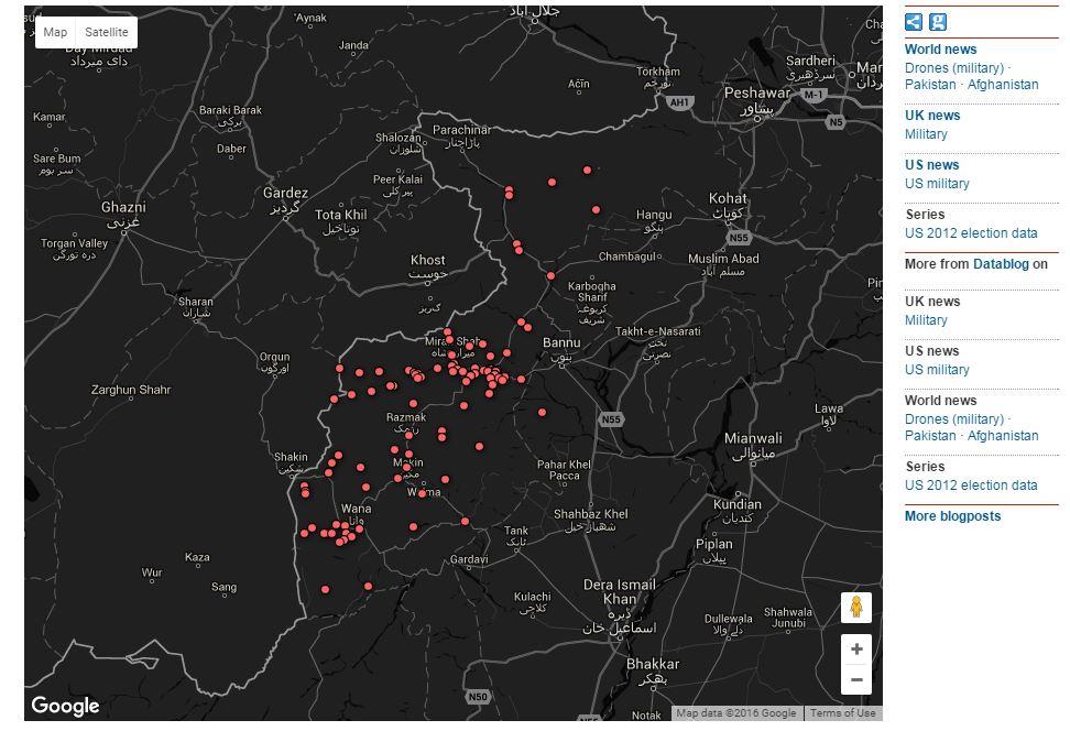 Captura del mapa interactivo de ataques de drones en Pakistán