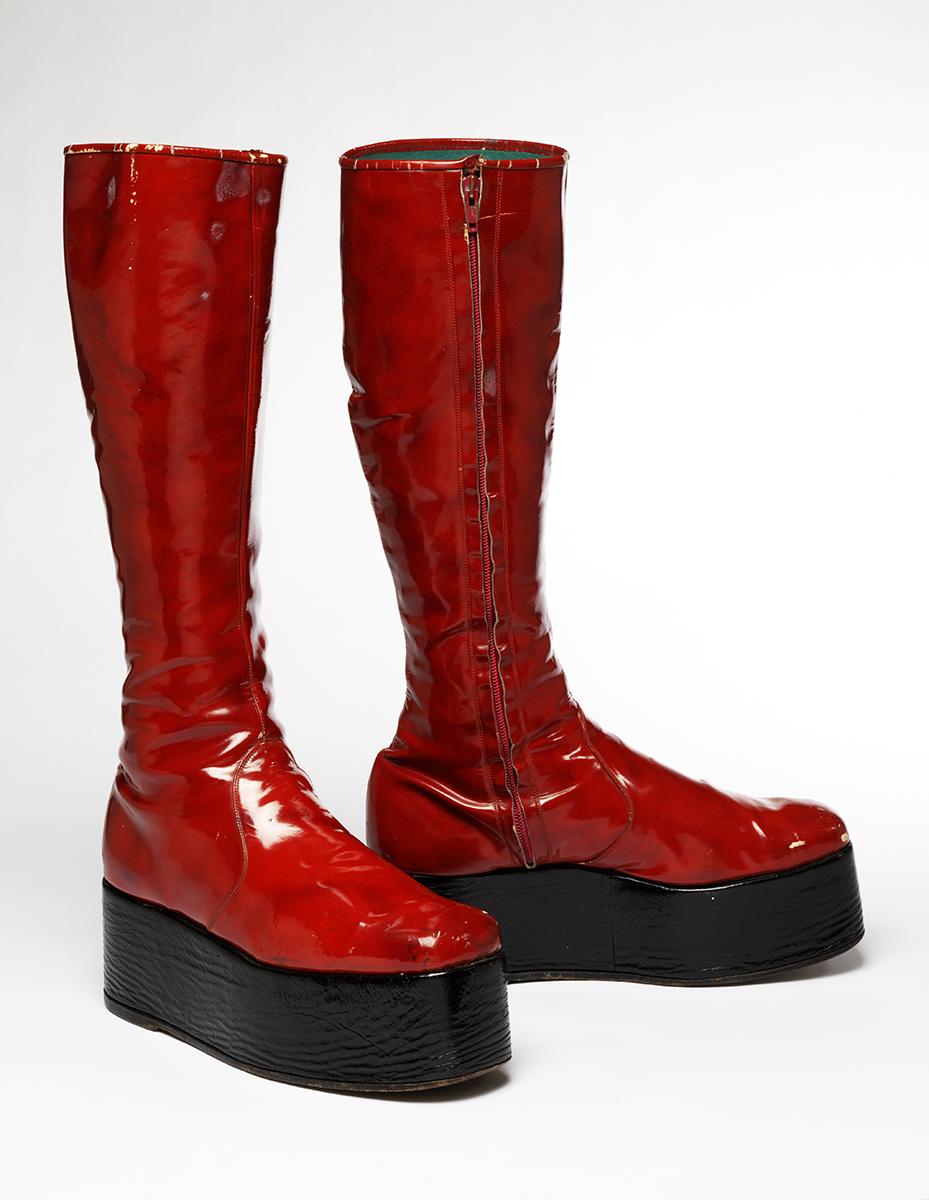 Red platform boots, 1971 Aladdin Sane tour Courtesy The David Bowie Archives