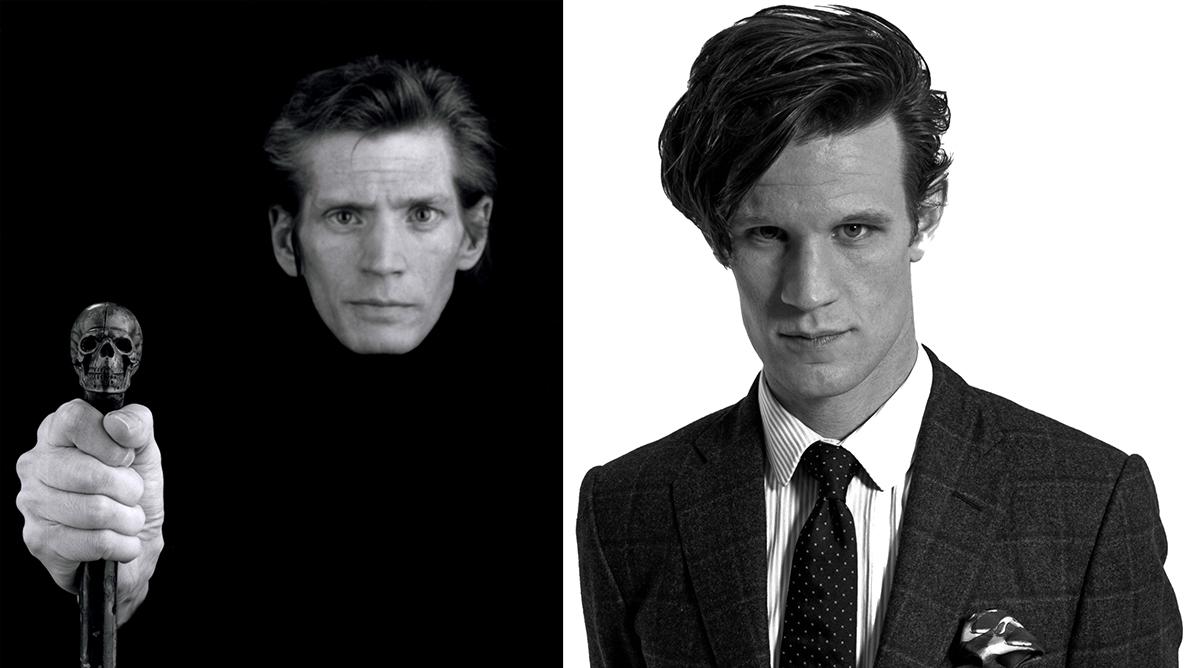 Izquierda, uno de los últimos autorretratos de Mapplethorpe © Robert Mapplethorpe Foundation. Derecha, foto de promoción del actor Matt Smith