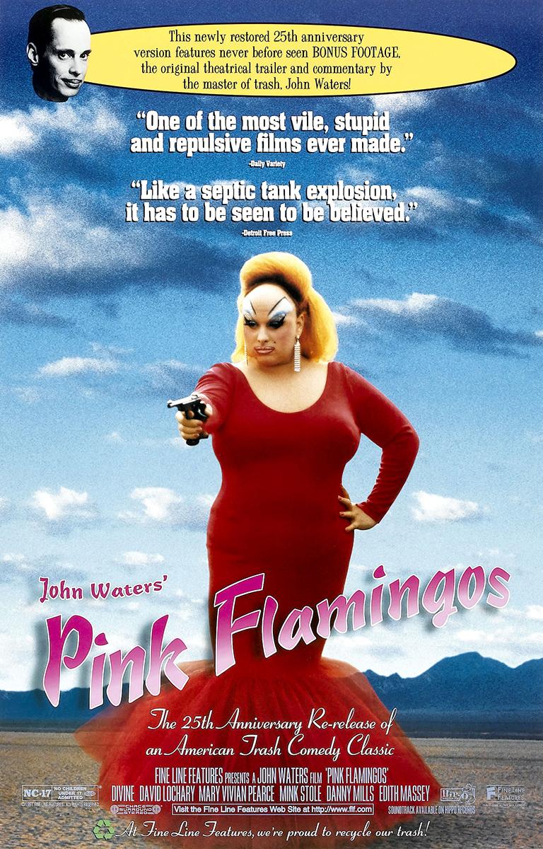 Póster de la reedición 25º aniversario de 'Pink Flamingos'