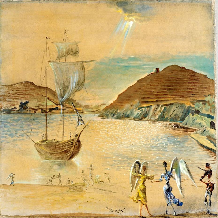 """Paisaje de Port Lligat con ángeles familiares y pescadores"" - Salvador Dalí, 1950 - Foto: TEFAF"