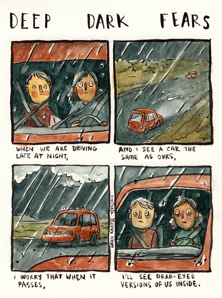 """""""Cuando vamos en coche tarde por la noche y veo uno igual al nuestro, me preocupa que, cuando pase a nuestro lado, vea que en su interior hay una versión de nosotros con la mirada vacía"""" - 'Deep Dark Fears' - Frank Krause"""