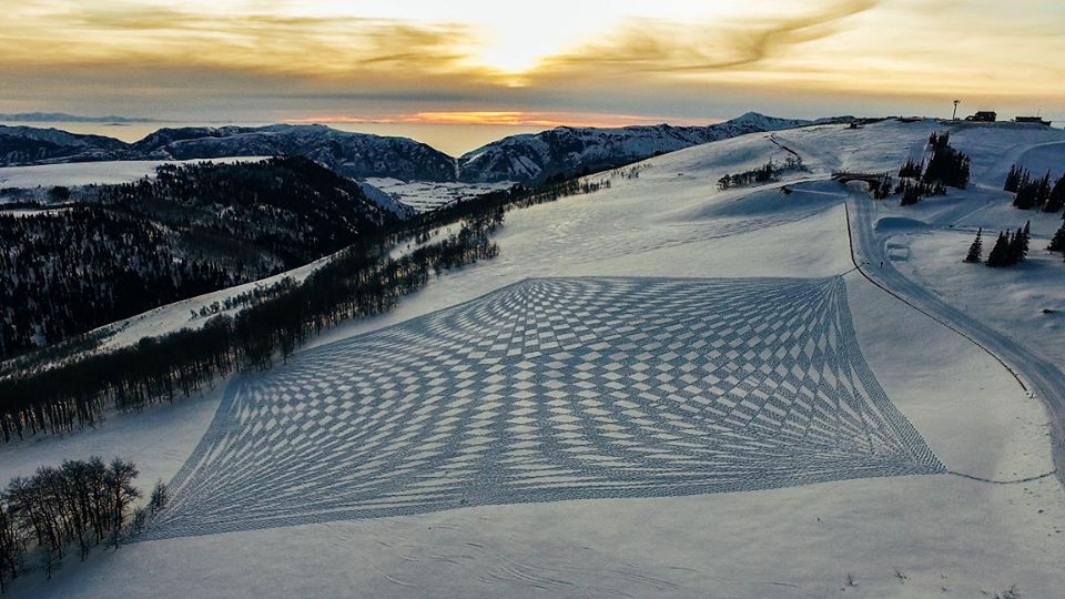 Obra de Simon Beck en Powder Mountain, Utah - Foto: Simon Beck