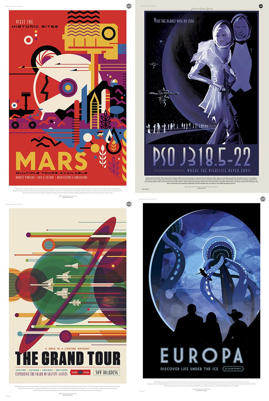 Cuatro de los carteles 'espaciales' - Courtesy NASA/JPL-Caltech