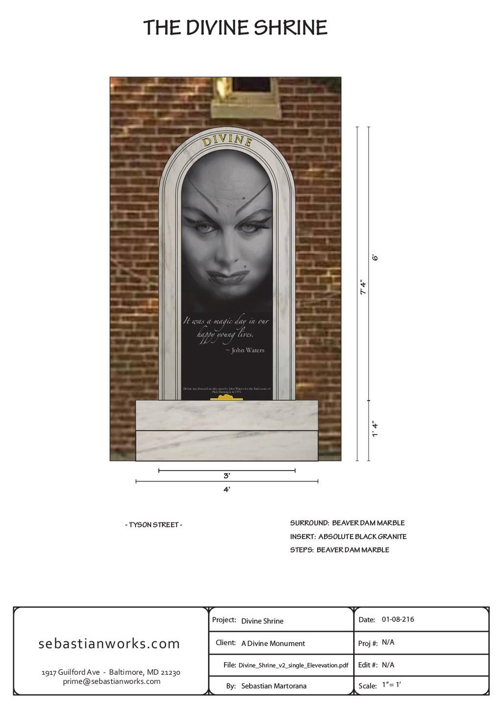 Propuesta del monumento-santuario dedicado a Divine © Sebastian Martorana