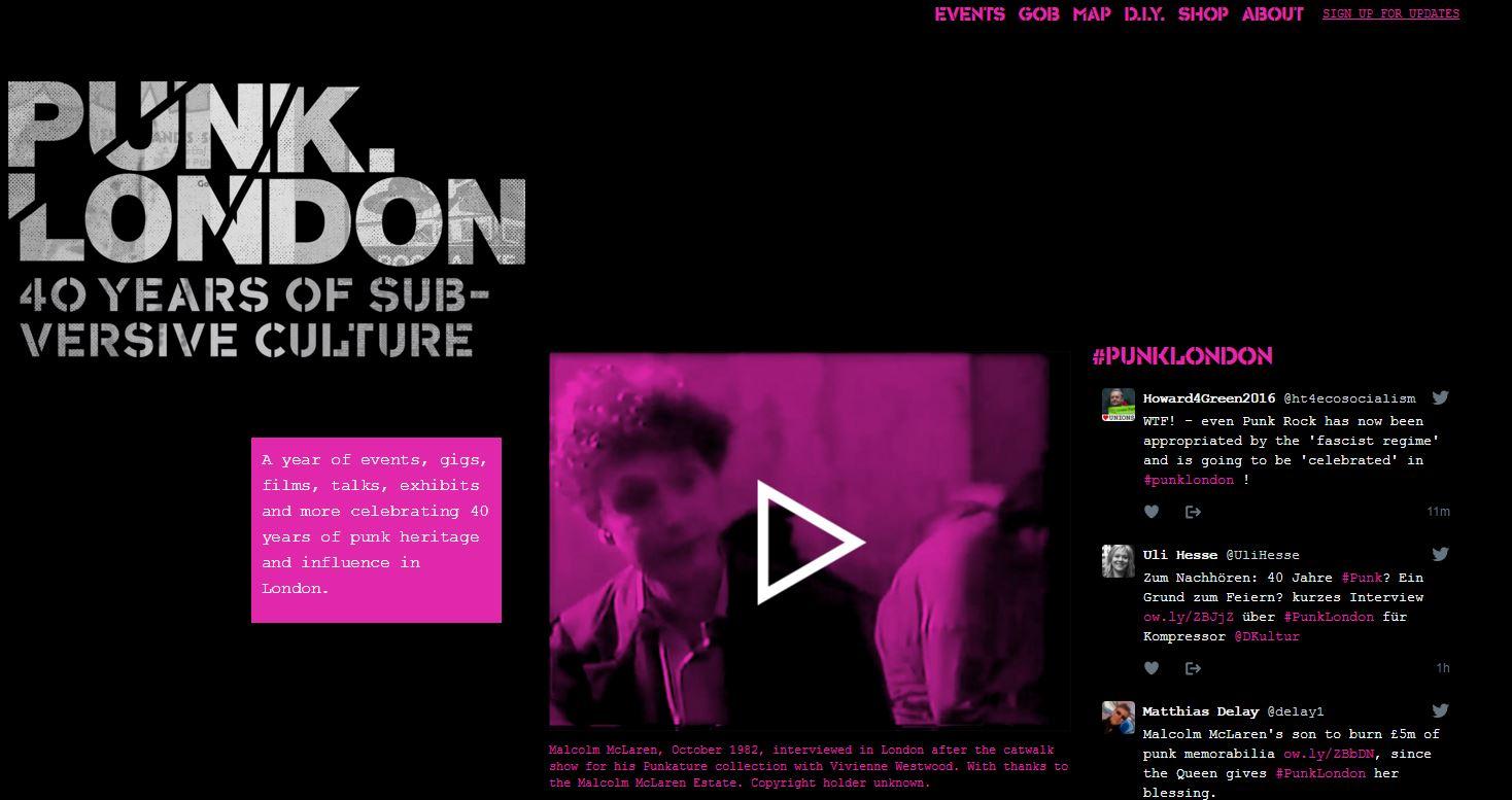 Captura de la web oficial de Punk London