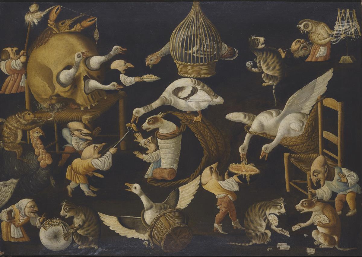 Escena grotesca con animales, obra del Maestro de la fertilidad del huevo