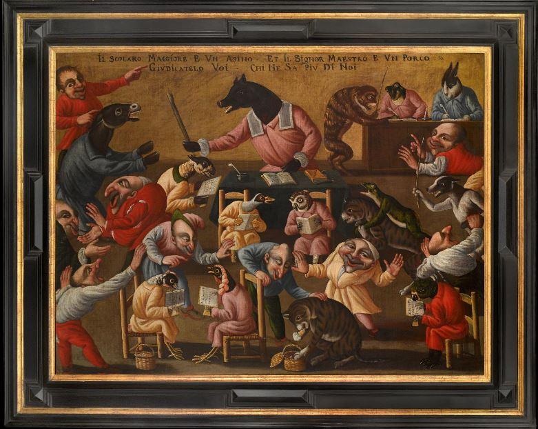 Escena grotesca del Maestro de la fertilidad del huevo, obra central de un tríptico ahora en posesión de los marchantes de arte Ruzhnikov