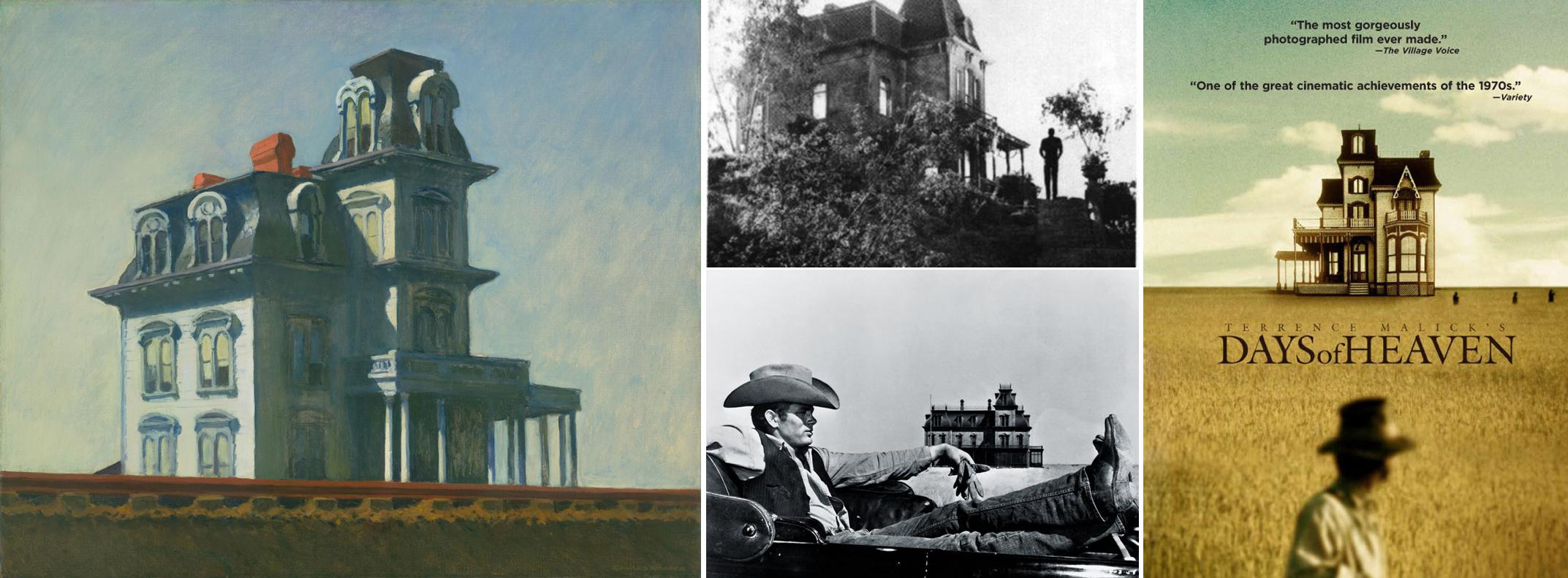 House by the Railroad. En el centro, imágenes de Psicosis y Gigante. A la derecha, póster de Días de Cielo.