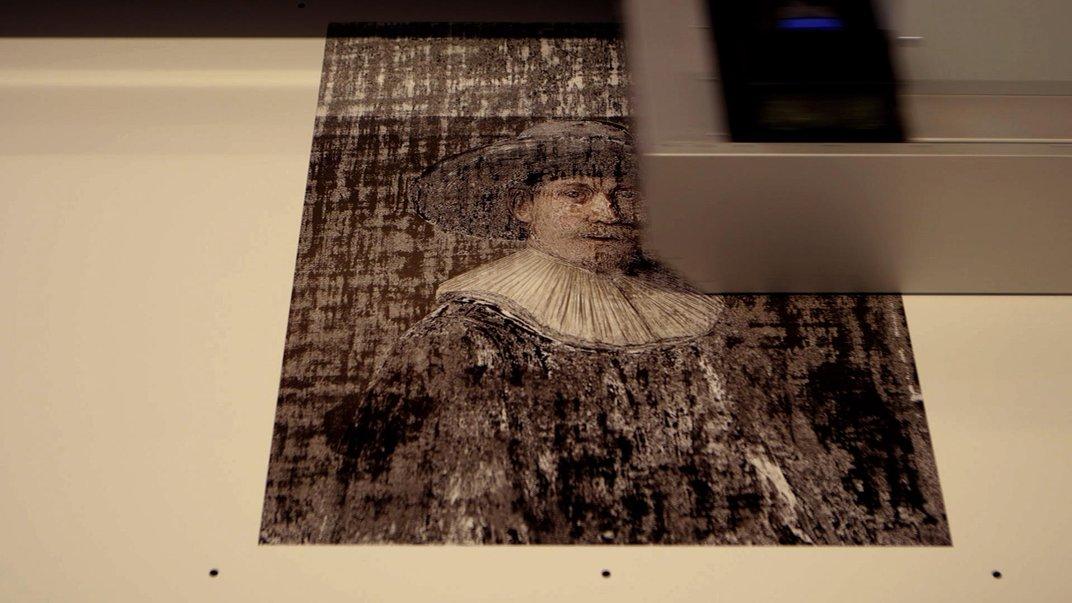 Creación del retrato con una impresora en 3D que superpuso 13 capas para darle volumen y profundidad a la obra - Foto: www.nextrembrandt.com