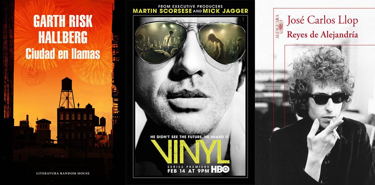 Cubiertas de 'Ciudad en llamas' y 'Reyes de Alejandría, y, en el centro, póster de 'Vinyl'