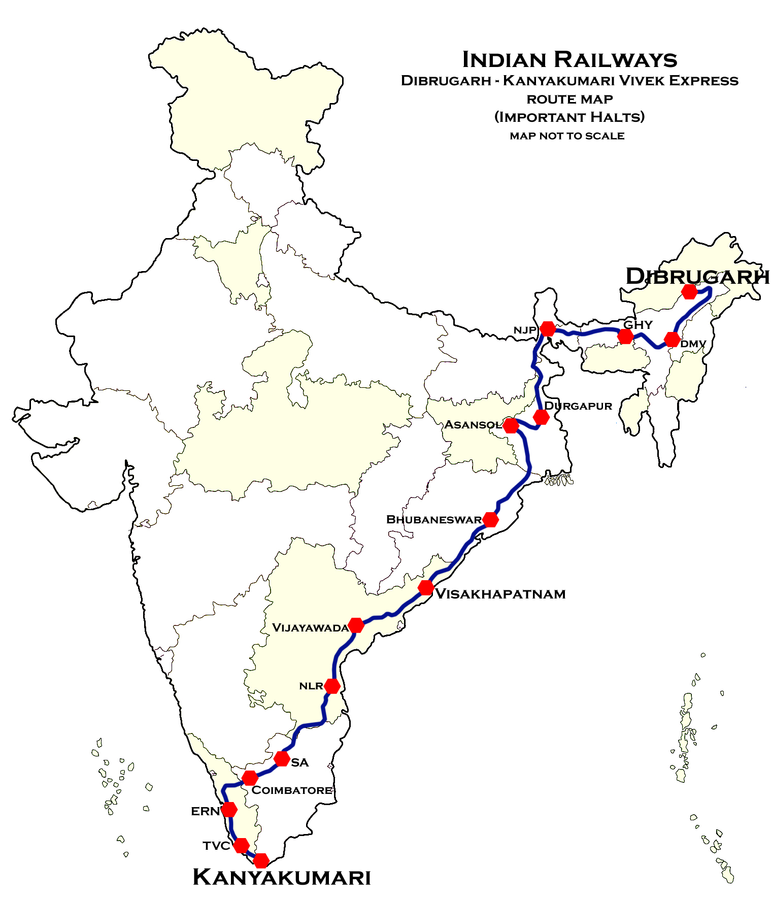 Ruta del Dibrugarh - Kanyakumari Vivek Express