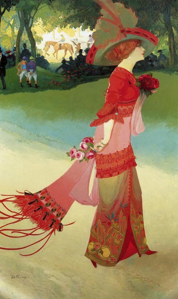 'Femme en rouge' - Georges de Feure