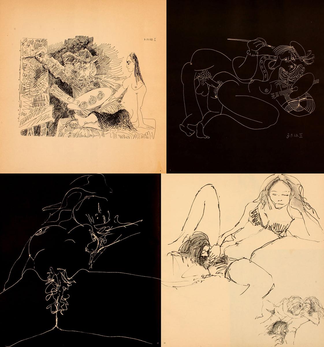 Dibujos eróticos de Pablo Picasso (arriba) y de John Lennon publicados en 'Avant Garde'