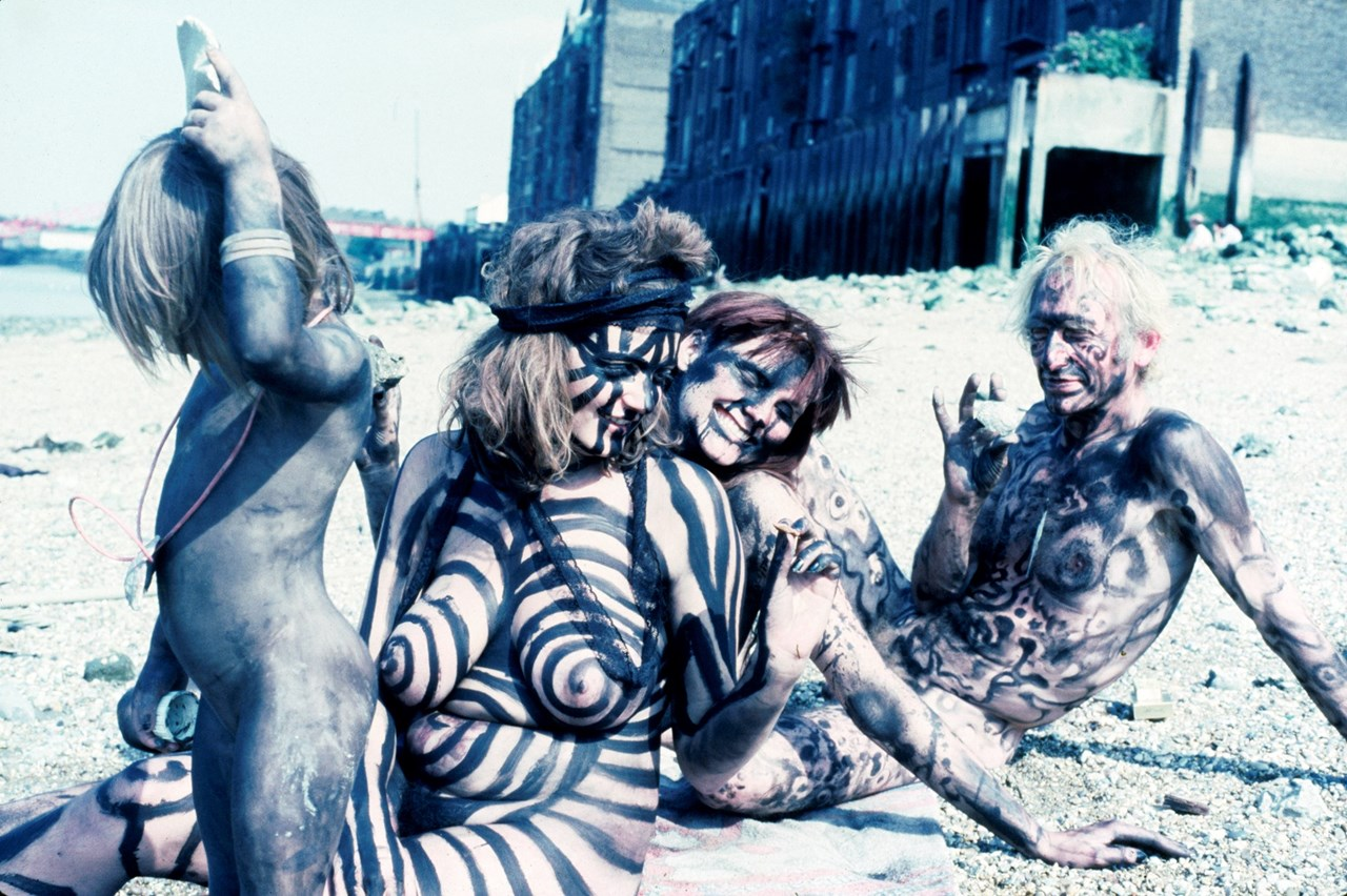Neo Naturists, Black Rapport Day, Thames Beach Wapping, 17 July 1982 (Jennifer Binnie, Wilma Johnson, Nico Holah and Bruce Lacey) - Courtesy of the Neo Naturists Archive