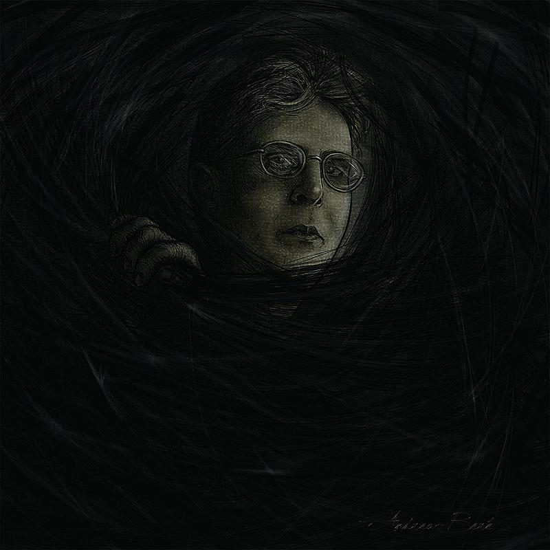 Thomas Ligotti dibujado por Andrea Beré