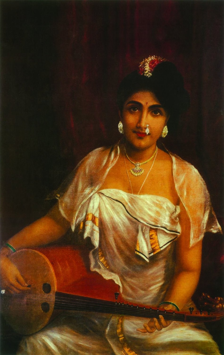'Lady playing the Veena' - Raja Ravi Varma