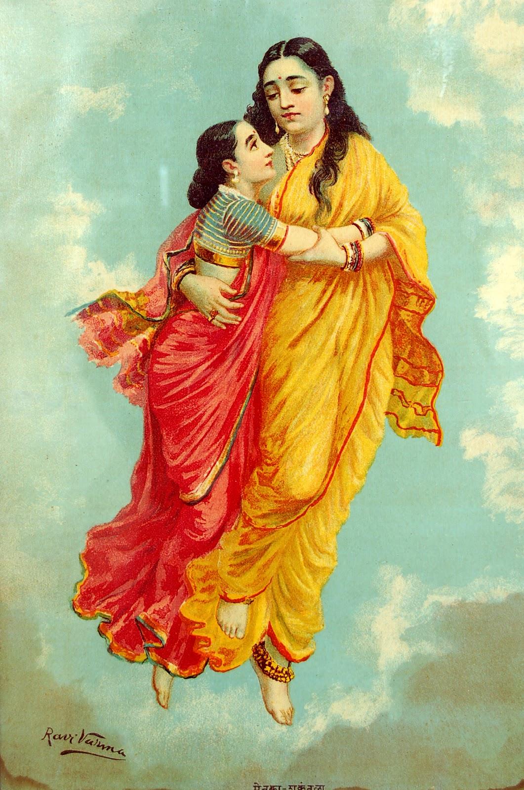 'Menaka and Sakunthala' - Raja Ravi Varma