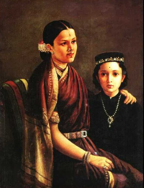 'Mrs. Ramanadha Rao & son' - Raja Ravi Varma