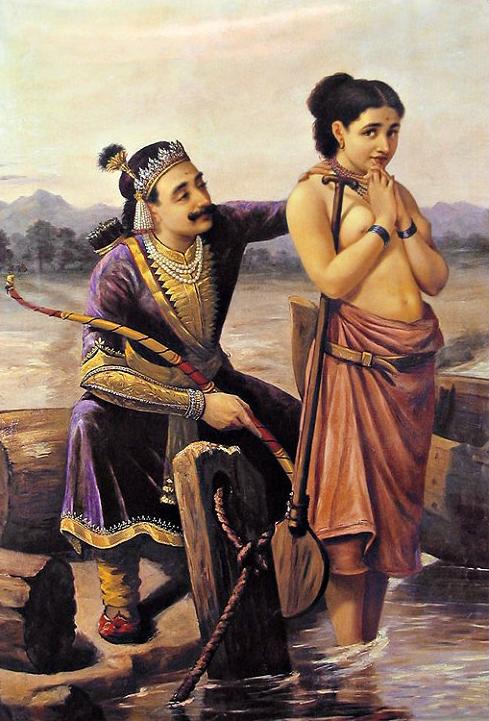 'Shantanu and Satyavati' - Raja Ravi Varma