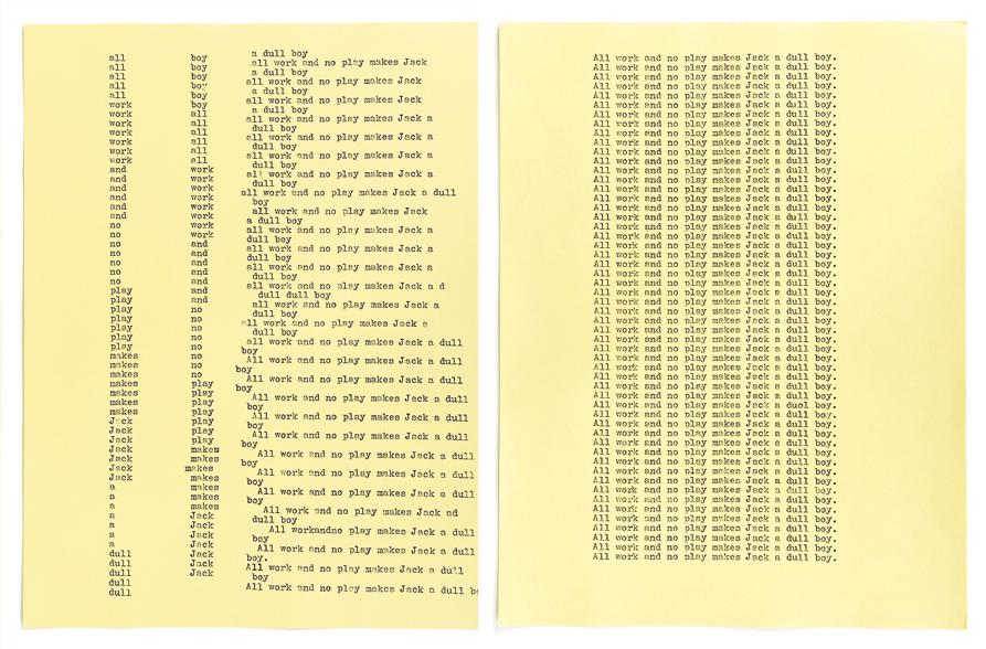 Dos de las páginas del manuscrito de Jack Torrence - Adam Broomberg & Oliver Chanarin